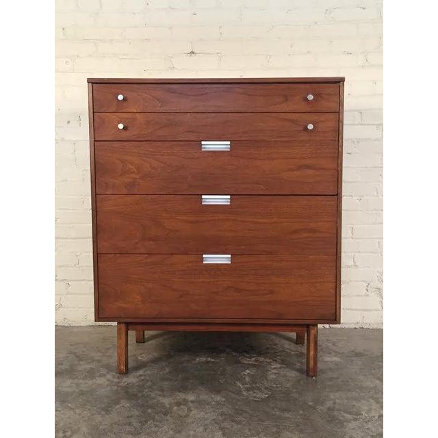Walnut Mid-Century Modern 4-Drawer Dresser - Image 2 of 8