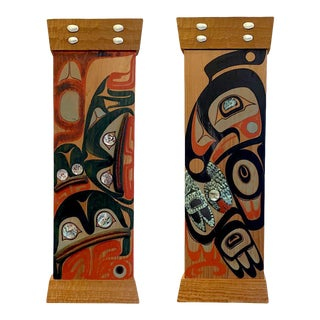 Northwest Coast Native Carved and Painted Cedar Panels - A Pair For Sale