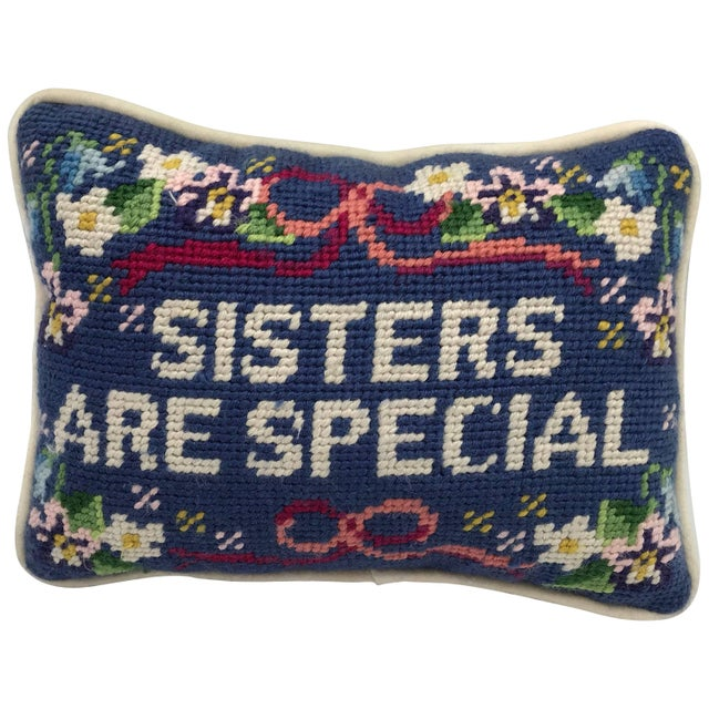 Blue 1970s 'Sisters Are Special' Needlepoint Pillow For Sale - Image 8 of 8