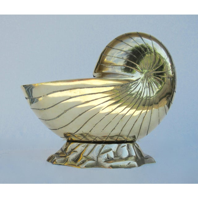 Americana Vintage Mid-Century Modern Brass Nautilus Shell Planter For Sale - Image 3 of 13