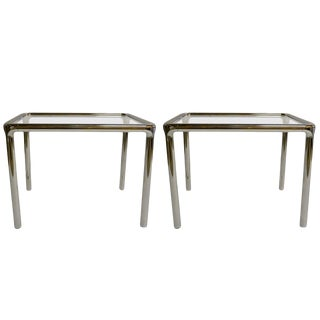 Pair of Chrome and Glass Tables For Sale