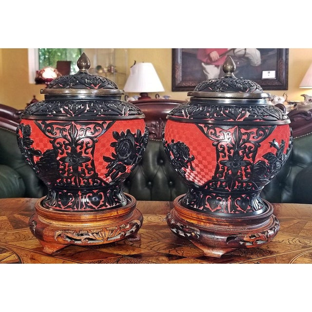 20th Century Chinese Cinnabar and Enamel Lidded Urns on Stand - a Pair For Sale - Image 10 of 11