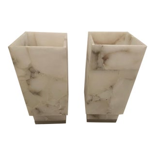 Mid-Century Modern Square Modern Columnar Table Lamps - a Pair For Sale