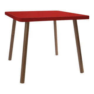 "Tippy Toe Small Square 23.5"" Kids Table in Walnut With Red Finish Accent For Sale"