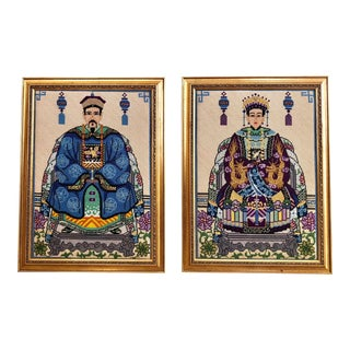 Vintage Chinoiserie Chinese Ancestor Portraits Framed Needlepoints - a Pair For Sale