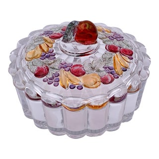 Mid 20th Century Fruits Glass Box For Sale