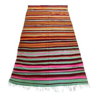 Moroccan Vintage Flat-Weave Kilim Rug North Africa For Sale