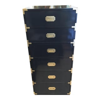 Mid Century Campaign Lingerie Chest-Navy High Gloss For Sale