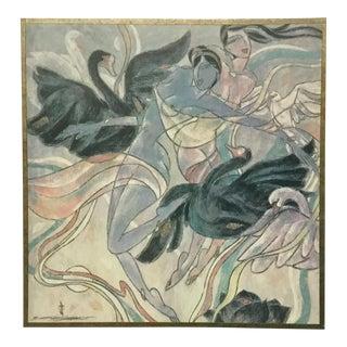 """Yunnan School Yamin Young """"September Swans"""" Painting"""
