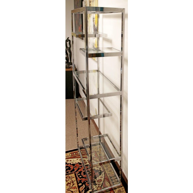 Mid-Century Modern Milo Baughman Chrome & Glass Shelves Etagere 1970s For Sale In Detroit - Image 6 of 8