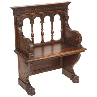 Late 19th Century Vintage Baroque Style Walnut Bench For Sale