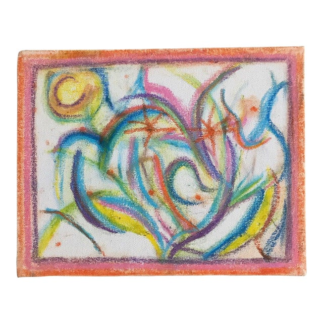 Vintage 1970s Colorful Abstract Drawing For Sale