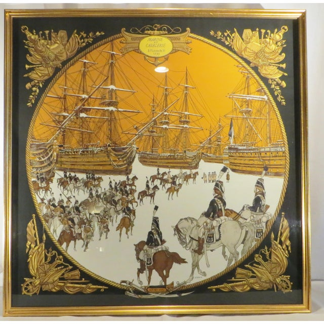 A professionally framed vintage (1975) Hermes scarf from a great estate. Scene depicts old French military on horseback...