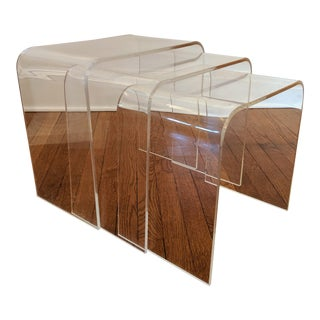 Vintage Minimalist Lucite Waterfall Nesting Tables - Set of 3 For Sale