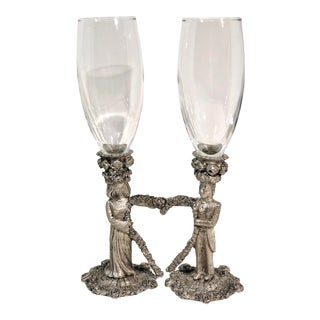 Vintage Man Woman Heart Pewter Toasting Wedding Champagne Flutes - Set of 2 For Sale