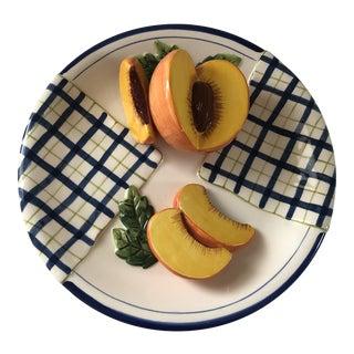 Bella Casa by Ganz Decorative Fruit Plate Peach Pattern For Sale