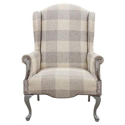 Queen Anne Plaid Wingback Chair Chairish