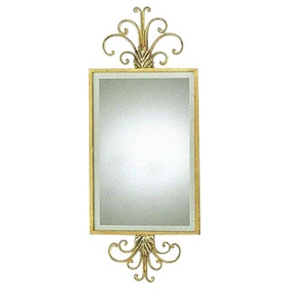Traditional Hand Wrought Iron Mirror With Gold Leaf Frame For Sale