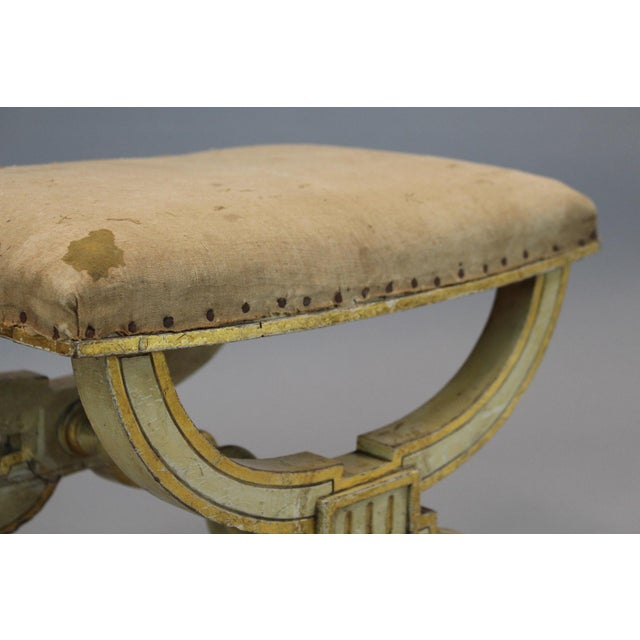 French French Painted & Gilded Wood Stool With X Form Base For Sale - Image 3 of 6
