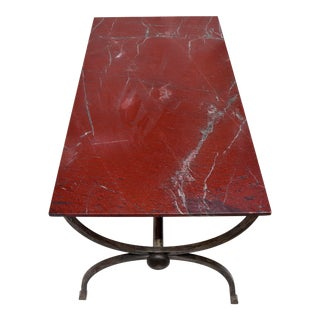 1970s Hand Forged Steel Curule Form Dining Table With Marble Stone Top For Sale
