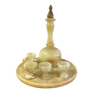 Mid-Century Turkish Alabaster Aperitif Set - 7 Pc