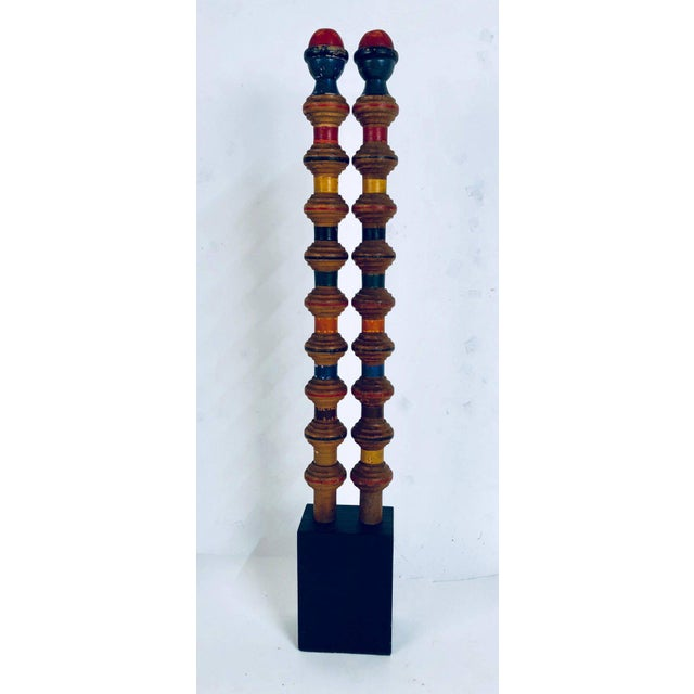 Antique and Vintage Colorful Croquet Posts in Custom Block Stands - Set of 10 - Image 5 of 11