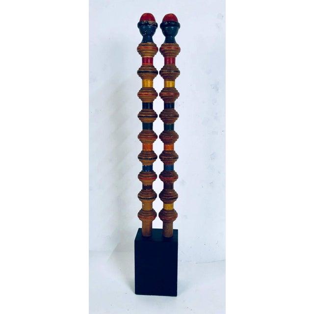 Vintage Croquet Posts in Custom Block Stands - Set of 10 - Image 5 of 11