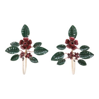 Italian Tole Red Flower Hooks - a Pair For Sale