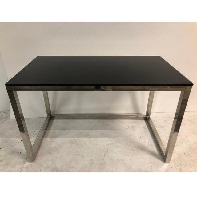Milo Baughman 1960s Milo Baughman Style Mid Century Black Glass Chrome Writing Desk For Sale - Image 4 of 4