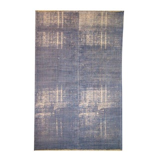 Cotton 'Dhurrie' Blue Distressed Pattern Rug - 6′6″ × 10′ For Sale