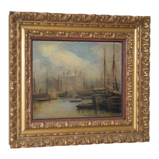 Nautical View of the Thames Oil Painting 19th C. For Sale