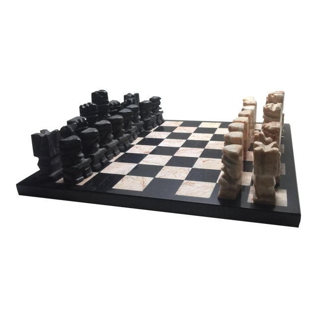 Carved Aztec-Style Marble Chess Set For Sale