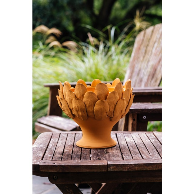 Contemporary Terracotta Artichoke Footed Centerpiece, Small For Sale - Image 3 of 6