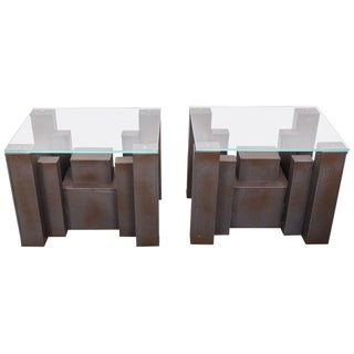 Industrial Andrew Martin Columbus Side Tables - a Pair For Sale
