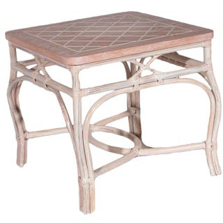 White-Wash Finish Rattan Occasional Table For Sale
