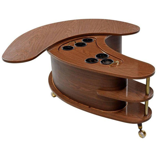 Grand Server Boomerang Kidney Shaped Walnut Coffee Table Bar Cabinet For Sale - Image 9 of 9