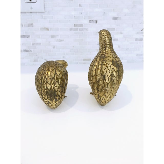 Mid-Century Japanese Brass Quails - A Pair - Image 3 of 6