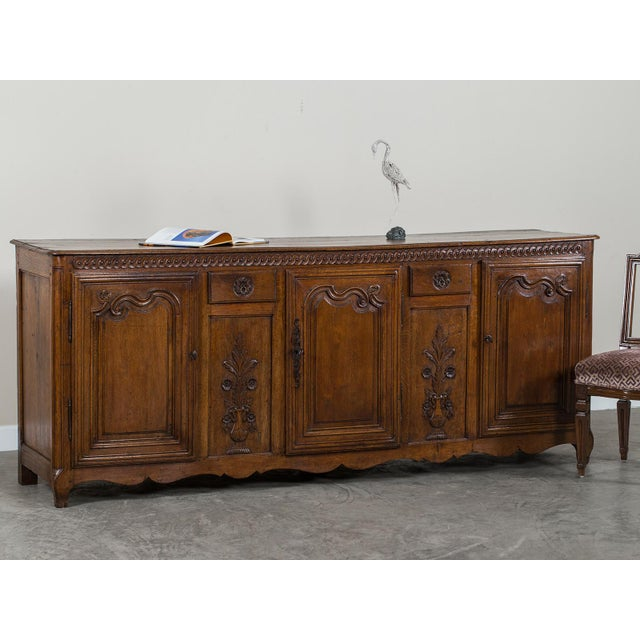 Brown Mid 19th Century Antique French Louis XV Period Carved Oak Enfilade For Sale - Image 8 of 11