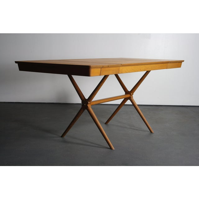 Danish Modern Walnut Dining Table X Base, Manner of Widdicomb For Sale - Image 3 of 10