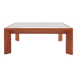 Modernist French Square Coffee Table in Elm For Sale