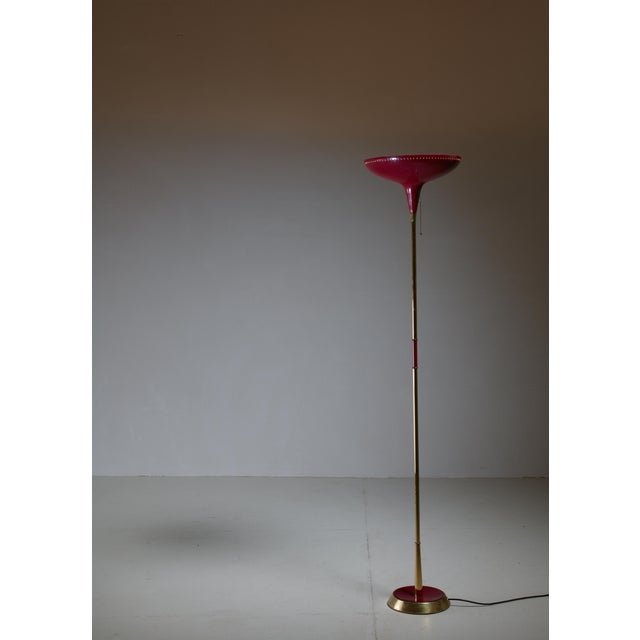 Italian Uplighter Floor Lamp in Wonderful Dark Red, 1950s - Image 3 of 3