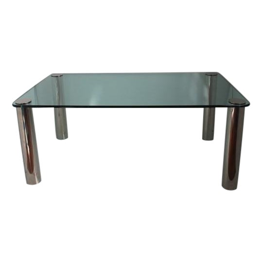 Pace Dining Table With Chrome Legs and Glass Top - Image 1 of 10