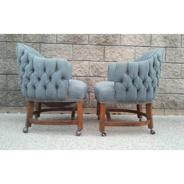Blue Tufted Barrel Club Chairs - A Pair - Image 5 of 7