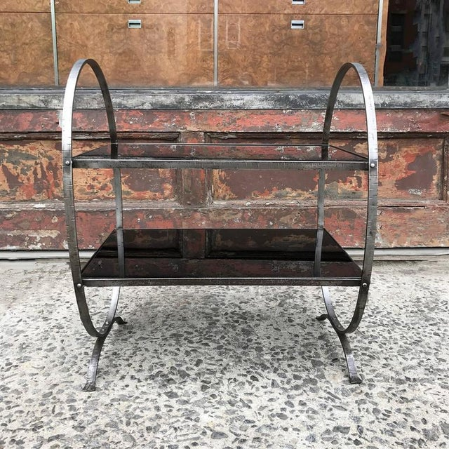 Art Deco 1930s Art Deco Etched Steel and Cobalt Glass Two-Tier Side Table For Sale - Image 3 of 9