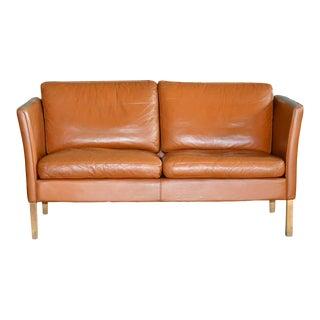 Danish Mid-C Borge Mogensen Style Danish Two-Seat Cognac Colored Leather Sofa For Sale