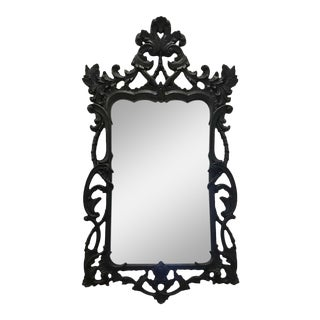Vintage Italian Gothic Hollywood Regency Carved Wood Mirror in Ebony, 1970s For Sale