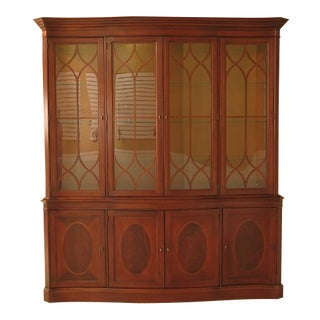 Lexington Palmer 4 Door Mahogany Breakfront W. Curved Glass For Sale