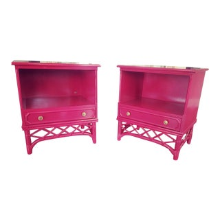 Pink Lacquered Ficks Reed Vintage Bedside Tables - a Pair