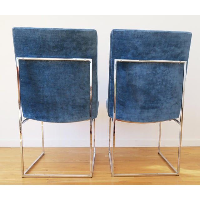 Blue Mid-Century Milo Baughman for Thayer Coggin Rosewood Table and Dining Chairs Set For Sale - Image 8 of 10