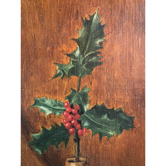 Art Deco Art Deco Still Life With Festive Holly Branch For Sale - Image 3 of 10